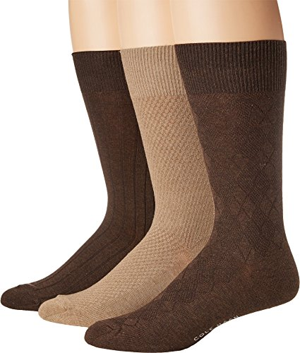 Cole Haan Mens Textured Argyle Crew 3-Pack Chestnut Heather/Camel Heather/Chestnut Heather 1 One Size One Size
