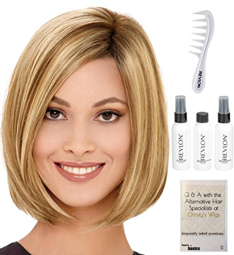 R12 Air (Bundle - 6 Items: Jamison Wig by Estetica, Christy's Wigs Q & A Booklet, Revlon Synthetic Styling Spray, Texturizing Cleanser, Conditioner & Wide Tooth Comb - Color R12/26H)