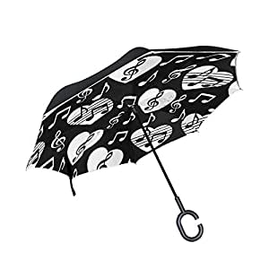 ALAZA Love Heart Music Notes Black Inverted Umbrella, Large Double Layer Outdoor Rain Sun Car Reversible Umbrella