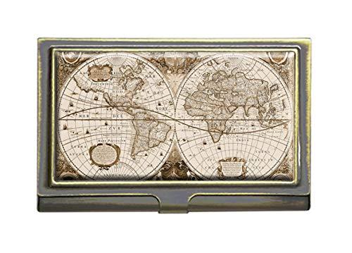Antique World Map Business Card Holders Bank Name Case Holder Bronze Card Credit ID Case Box Pocket Wallet Purse