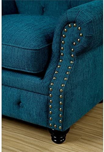 Furniture of America Villa Traditional Tufted Faux Leather Loveseat in Dark Teal