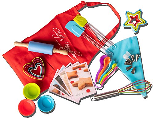 Riki's kingdom Kids real baking set with recipes 44-Piece/Child Apron/Cupcake
