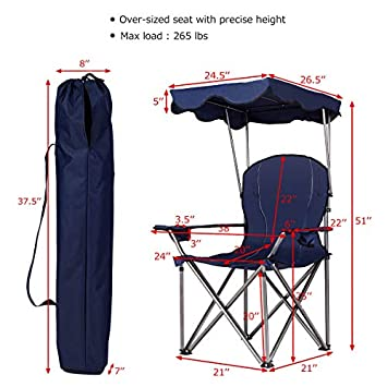 Goplus Folding Beach Chair Heavy Duty High Capacity Camping Chair Durable Outdoor Patio Seat with Cup Holder and Carry Bag
