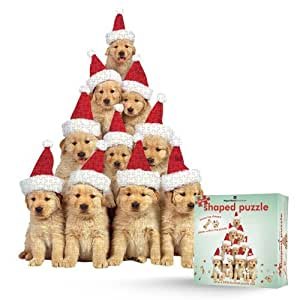 Paper House Productions Jigsaw Shaped Puzzle 18 by 24-Inch, Golden Retriever Puppies Holiday (500 Piece)