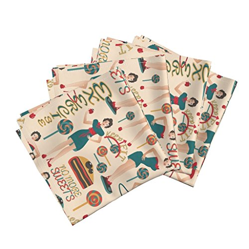 Roostery Sweets Organic Sateen Dinner Napkins Dieters Resolutions On Cream by Kociara Set of 4 Cotton Dinner Napkins made by by Roostery