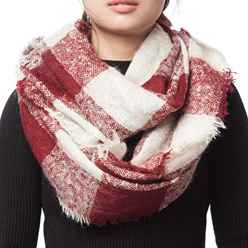 (Red and White Plaid Infinity Scarves for Women Winter Fall Tartan Circle Scarfs for Girls (X18-3))