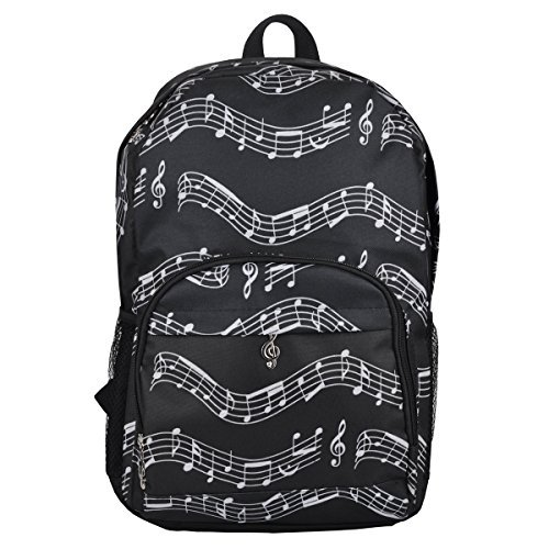 Price comparison product image Oxford Musical Notes Print Backpack for School Boys Girls Stylish Art Bookbags (Musical Notes Patterns Black)