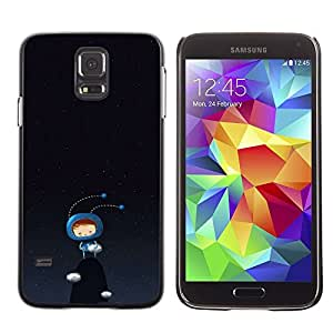 A-type Arte & diseño plástico duro Fundas Cover Cubre Hard Case Cover para Samsung Galaxy S5 (Cute Bug Monster Black Dark Blue)