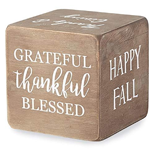 Mud Pie Thanksgiving Sentiment Block, Brown ()