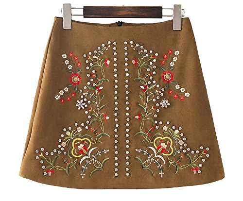 (Allonly Women's A-Line Floral Embroidered Mini Skirt)