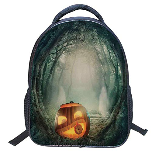 (Designer Original Art Print Casual Backpack,Travel Backpack 16Inch Laptop Bag,16 inch,Scary Halloween Pumpkin Enchanted Forest Mystic Twilight Party Art)