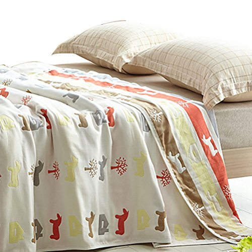 - Uozzi Bedding 6 Layers of 100% Hypoallergenic Muslin Cotton Baby Toddler Striped Premium Blanket, Cute House & Horse Printed Pattern. (Horse, 45