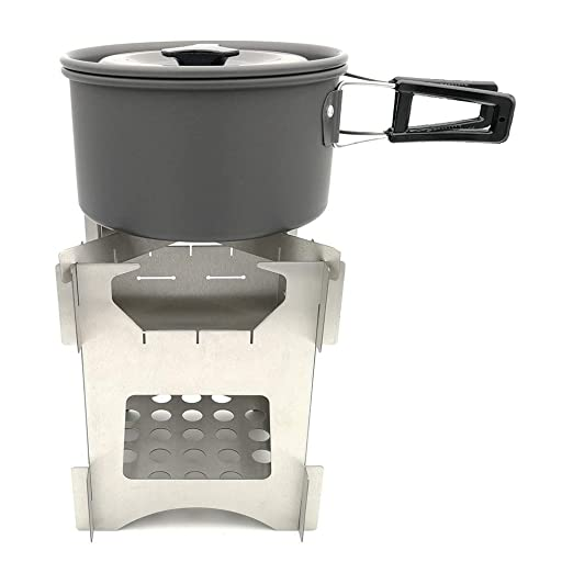 Amazon.com : ACCDUER Camp Stove, Lightweight Backpacking Stove Small Wood Burning Camp Stoves Portable Wood Burning, Picnic Cookware Cooking Tool Set Pot ...