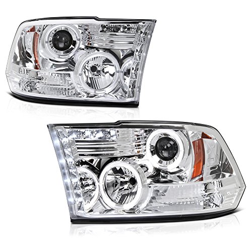 [For 2009-2018 Dodge RAM 1500 2500 3500] LED Halo Ring Chrome Projector Headlight Headlamp Assembly, Driver & Passenger Side