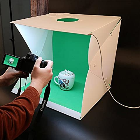 16 Inch Portable Mini Photo Studio DIY Mini Lightbox,with Built-in LED Lights,Button Fixed Mode (Bestowed Four Block Background Plates) Provide USB (Photo Product Studio)