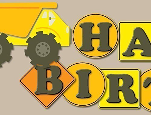 Personalized Under Construction Dump Truck Party Zone Birthday Banner Parrty Backdrop