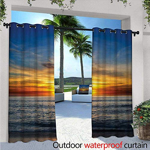 (BlountDecor Ocean Patio Curtains Sunset Over Pacific Ocean from La Jolla California Sunlight Colored Sky Photo Print Outdoor Curtain for Patio,Outdoor Patio Curtains W108 x L108 Orange Blue)