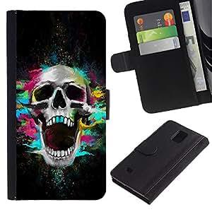 Be Good Phone Accessory // Caso del tirón Billetera de Cuero Titular de la tarjeta Carcasa Funda de Protección para Samsung Galaxy Note 4 SM-N910 // Skull Neon Scream Teeth Skeleton Colorful