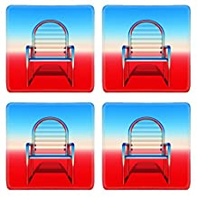Liili Square Coasters metallic chair on colored background 28597753