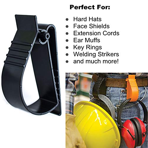 2Pcs Pack Orange and Yellow Sino-Max S002-2YO Belt Hook Glove Clip Carrier Accessory, Utility Catcher Clip Belt Clip Attachment For Gloves,Hard Hats, Ear Muff Clip, Helmets,With Belt Clip by Sinomax (Image #6)