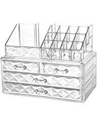 Jewelry and Cosmetic Boxes with Brush Holder - Diamond Pattern Storage Display Cube Including 4 Drawers and 2 Pieces Set
