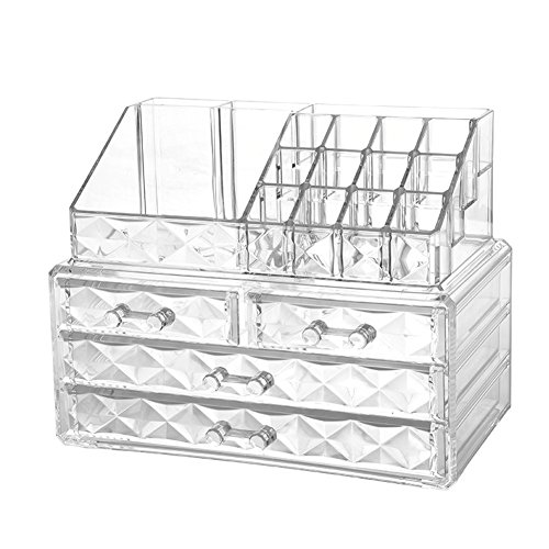 - Jewelry and Cosmetic Boxes with Brush Holder - Diamond Pattern Storage Display Cube Including 4 Drawers and 2 Pieces Set