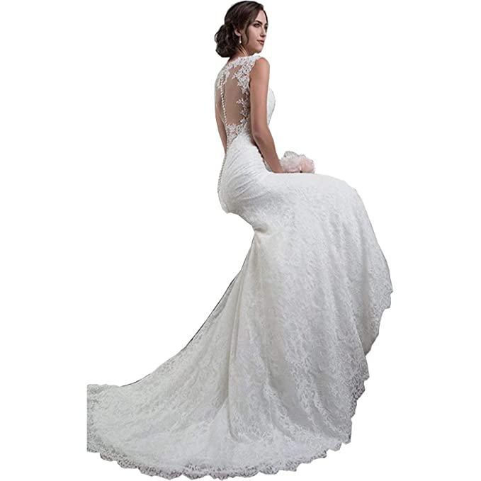 2019 See Through Back Vintage Lace Bridal Gowns Elegant V