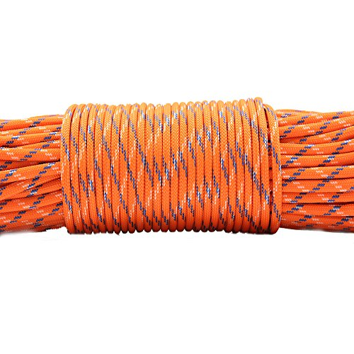 PSKOOK Survival Paracord Parachute Fire Cord Survival Ropes Red Tinder Cord PE Fishing Line Cotton Thread 7 Strands Outdoor 20, 25, 100 Feet (Orange Camo, 100) by PSKOOK (Image #2)