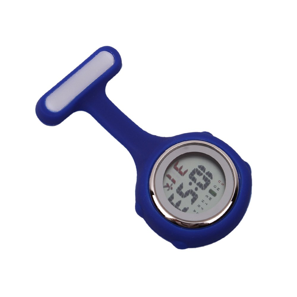 Multi-function Digital Silicone Nurse Doctor Gift Fob Pocket Watch (Blue)