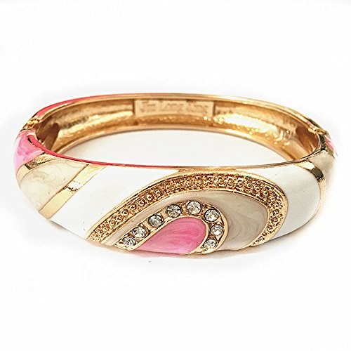 - UJOY Vintage Cloisonne Bracelet Handcraft Multi-Colored Enamel Oval Hinged Cuff Bangle Jewelry Gifts 88A26 White-Pink
