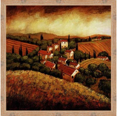 Poster Palooza Framed Tuscan Hillside Village- 24x24 Inches - Art Print (Natural Knotty ()