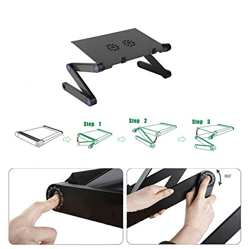 JiFengCheng Portable Laptop Stand for Bed Aluminum Adjustable Laptop Stand for Desk Table Vented CPU Fans Mouse Pad Side Ergonomic Laptop Stand by JiFengCheng (Image #3)