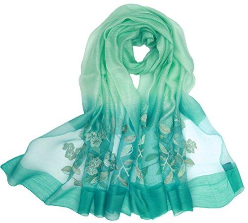 Tul 5 Seda bufanda Todo Verde Colorido Gradiente Playa Turismo Mujer Anti Bordado Verano Colores Bufanda Uv fAvwqrfx