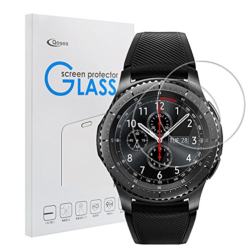 Price comparison product image Samsung Gear S3 Classic / Frontier Screen Protector [2 PACK], Qoosea Ultra-thin 2.5D 9H Hardness Crystal Clear Scratch Resistant Tempered Glass Screen Protector for Samsung Galaxy Gear S3 Smart Watch