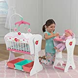 Girls Wooden Nursery Sweet Roses Doll Furniture Set Highchair Cot Crib Kids Play Childrens Birthday Christmas Gift
