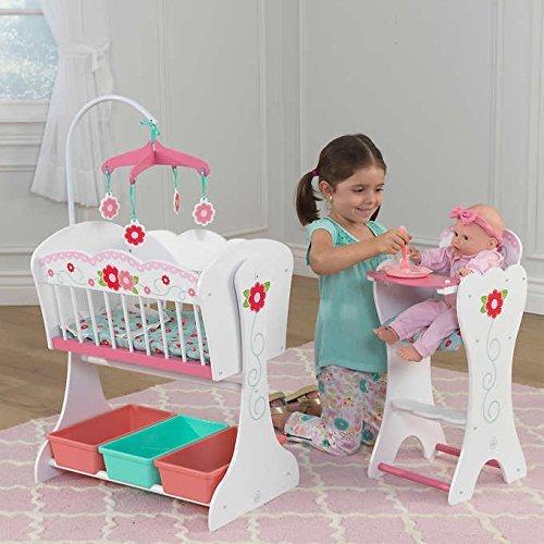 Girls Wooden Nursery Sweet Roses Doll Furniture Set Highchair Cot Crib Kids Play Childrens Birthday Christmas Gift