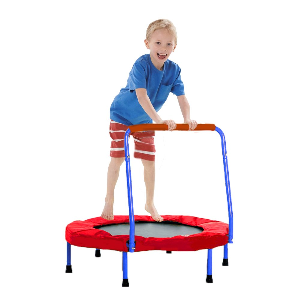 Trampoline - Fold-able Junior Jumping Trampoline with Blue Safety Handles - Christmas | Gifts | Exercise | Holiday Fun... and much more!