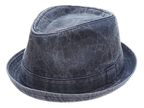 Men's Denim Washed Cotton Casual Vintage Style Fedora Sun Hat (Denim,ML) - Vintage Fedora