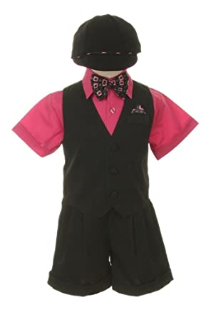 4c4218d8e Amazon.com  Dress Shorts Suit Tuxedo Vest Outfit Set-Infant Baby ...