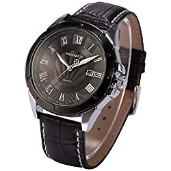 ++Canaloha:)++NA ver Agent X Mens Classic Business Date Display Quartz Leather Band Wrist Watch