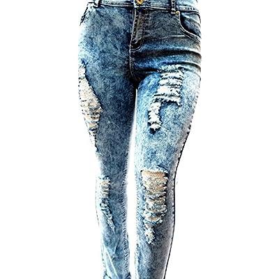 fad7534e8e1 1826 Jeans 55K Women s Plus Size Destroy Ripped Distressed Blue Denim Jeans  Acid Wash Pants