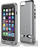 Squirl Case- iPhone 6/6S Extended Battery Protective Case, 2300 mAh, Built in Folding Plug, MFI Apple Certified – Silver/Space grey