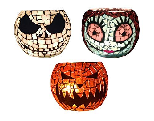 3 Mosaic Candle Holders, 3.5 Inch Votive, Skeleton Jack, Pumpkin Jack O lantern and Lady. Handcrafted Mosaic candle holders]()