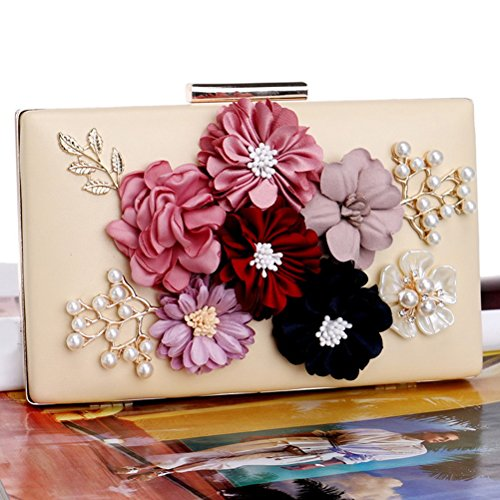 and Evening Party Wedding Clutches Womens 5 Purses Flower Bags gold g4ZFnF