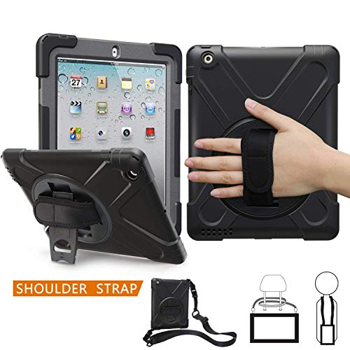 iPad 2/3/4 Case, TSQ Heavy Duty Caryying Rugged Protective Case With Handle Hand Grip, Shoulder Strap&360 Degree Stand, For Kids Girl Boy Apple Tablet iPad 2nd/3rd/4th Gen With Retina Cover Skin Black