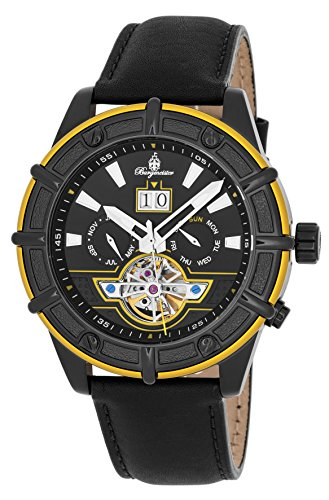 Burgmeister Men's Automatic Stainless Steel and Leather Casual Watch, Color:Black (Model: BM343-622C)