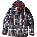 Boulder Gear Boys Coup Jacket, Gray Shadow Plaid/Red Racer, Medium by Boulder Gear