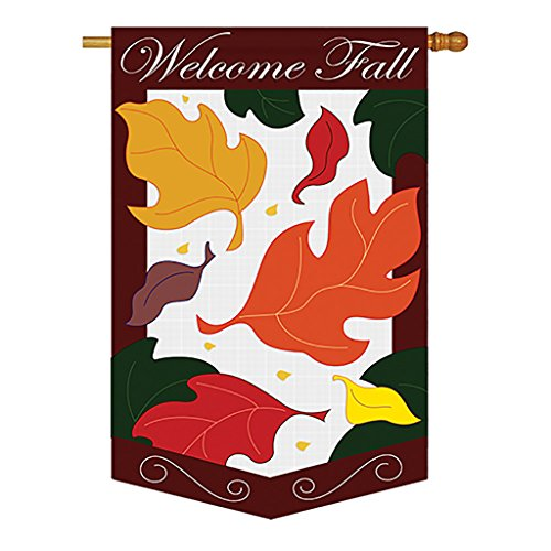 Two Group – Welcome Fall Leaves Fall – Seasonal Harvest & Autumn Applique Decorative Vertical House Flag 28″ x 44″