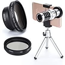 4in1 Iphone Lens Kit for Iphone7,12x Telephoto Lens+CPL Polarizer+0.45X Wide Lens+10X Macro Attach Lens &Metal Adjust Holder Mount & Phone Tripod for Iphone Samsung Galaxy Pixel Anroid