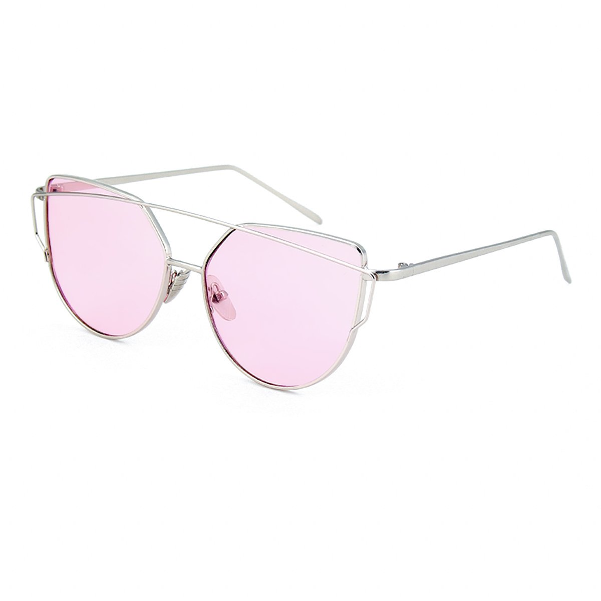 WISH CLUB Women Cat Eye Sunglasses Oversized Transparent Clear Fashion Lens Durable UV400 Glasses(Pink)